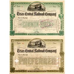 Texas Central Railroad Stocks (2)   (84137)