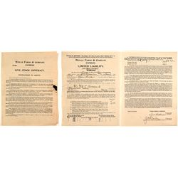 Rare Wells Fargo Livestock Contract   (58109)