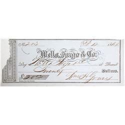Early 1861 Nevada Wells Fargo Check   (83300)