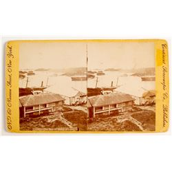 """The Bay of Sitka"" Stereoview c., Large Size- Yellow Mount   (79076)"
