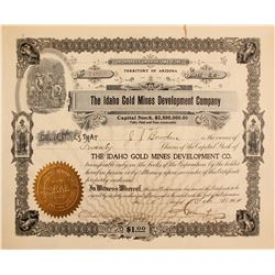 Idaho Gold Mines Development Co. Stock Cert.    (76244)