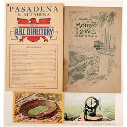 Mt. Lowe & Pasadena, CA Postcards and Ephemera   (105422)
