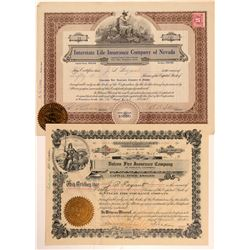 Two Insurance Company Stock Certificates   (107330)