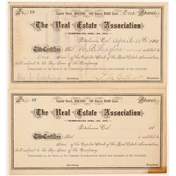 Real Estate Association Stock Certificates   (104410)