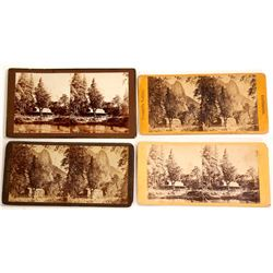 Four Stereoviews of Hutchings Hotel, Yosemite   (54787)