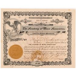 Academy of Music Association Stock Certificate   (104356)