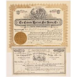 Two Colorado Fuel Company Stock Certificates   (104426)