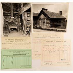 Montana Assay Sheets (3) and 2 Photographs   (50266)