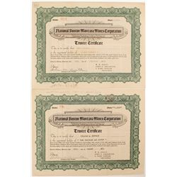 Two National Boston Montana Mines Corporation  Stock Certificates   (52519)