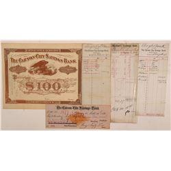 Carson City Savings Bank Stock Certificate & Ephemera   (107391)