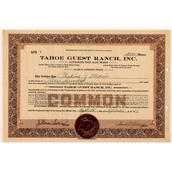 Tahoe Guest Ranch, Inc. Stock Certificate   (107361)