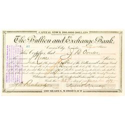 Bullion and Exchange Bank Certificate issued to J.B. Overton   (52670)