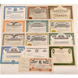 13 Different Miscellaneous Stock Certificates   (107335)