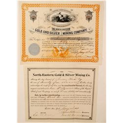North  Eastern Gold & Silver Mining Co.(2 Stock Certs)   (77900)