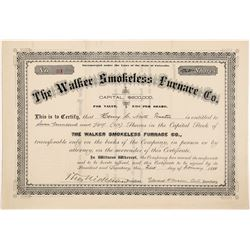 Walker Smokeless Furnace Company Stock Certificate   (104381)