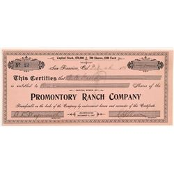 Promontory Ranch Company (Cattle) Stock Certificate   (104400)