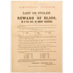 Unusual Notice of Stolen Bonds   (54618)