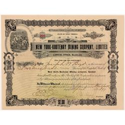 New York-Kootenay Mining Company, Ltd. Stock Certificate   (107262)