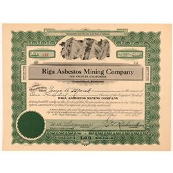 Riga Asbestos Mining Company Stock Certificate   (107280)