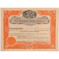 New Harmony Mines Company Stock Certificate   (107122)