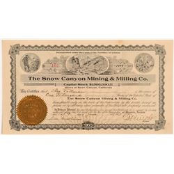 Snow Canyon Mining & Milling Co. Stock Certificate   (107258)