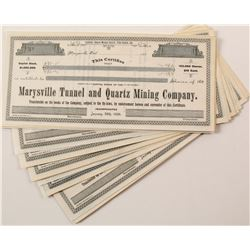 Group of Marysville Tunnel & Quartz Mining Co. Stock Certificates   (67054)