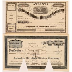 Two Central Mother Lode Mining Stock Certificates   (107018)