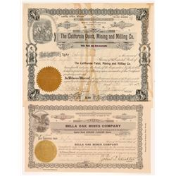 Two Napa Area Mining Stock Certificates   (107136)
