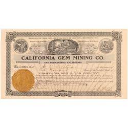 California Gem Mining Company Stock Certificate   (107218)