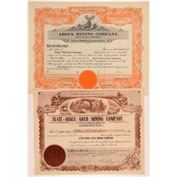 Two Argus Range Mining Stock Certificates   (107237)