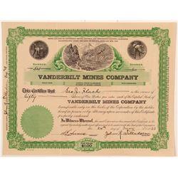 Vanderbilt Mines Company Stock Certificate    (107236)