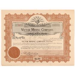 Victor Mining Company Stock Certificate   (107223)