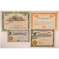 Four Different Yreka Mining Stock Certificates   (107124)
