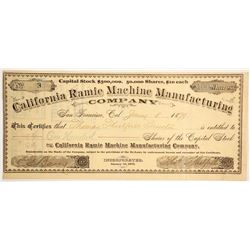 California Ramie Machine Manufacturing Stock   (89808)