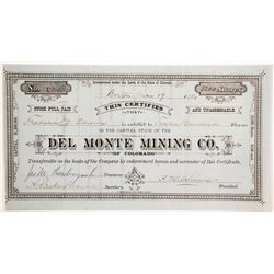 Del Monte Mining Company of Colorado Stock   (89464)