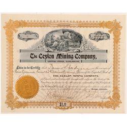 Ceylon Mining Company Stock Certificate   (107165)