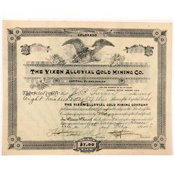 Vixen Alluvial Gold Mining Co. Stock Certificate   (104380)
