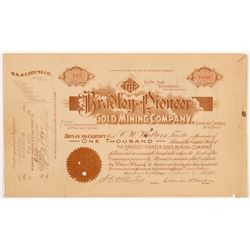Bradley-Pioneer Gold Mining Company Stock Certificate   (107160)