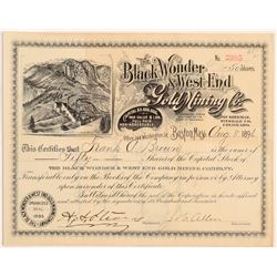 Black Wonder & West End Gold Mining Co. Stock Certificate   (107176)