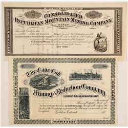 Two Unissued, Pristine Colorado Mining Stocks   (86740)