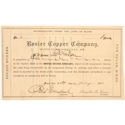 Rosier Copper Company Stock Certificate   (103497)