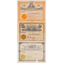 Three Different Libby, Montana Mining Stock Certificates   (107112)