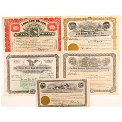 Five Different Montana Silver Mining Stock Certificates   (107245)