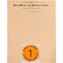 Montana Miners Union Ephemera   (50413)