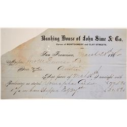 John Sime Bullion Bars Receipt, Austin, NV, 1866   (68095)