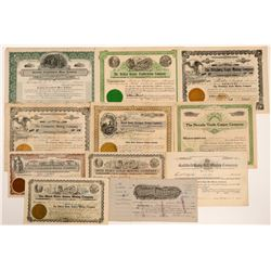 Eleven Goldfield, Nevada Mining Stock Certificates   (107091)