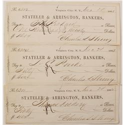 Three 1862 Virginia City, Nevada Territory Mining Checks   (68011)