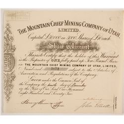 Mountain Chief Mining Company of Utah Stock   (86748)
