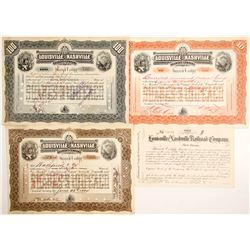 Louisville and Nashville Railroad Stocks, 3 Different   (84937)