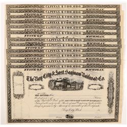 Bay City & East Saginaw Railroad Co. Stocks (12)   (105703)